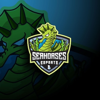 Logo de mascotte seahorse esport