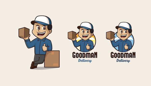 Logo de mascotte de service de livraison