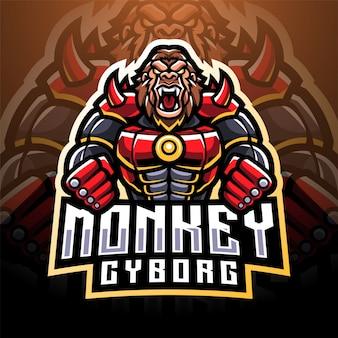 Logo de mascotte de singe cyborg esport