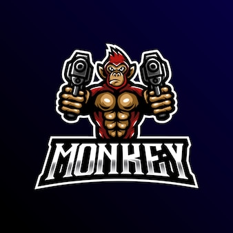 Logo de mascotte de singe esport gaming.