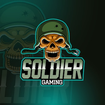 Logo de la mascotte skull army esport