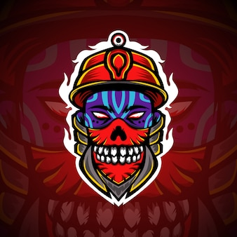 Logo de mascotte skull boy gaming esport