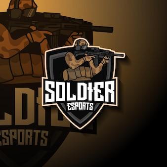 Logo de mascotte de soldat esport