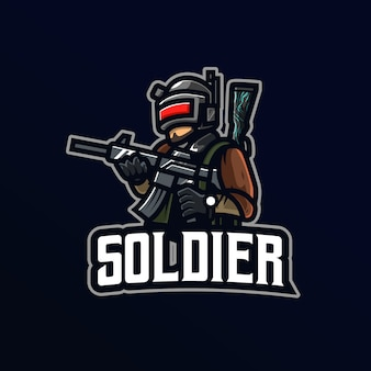 Logo de mascotte de soldat