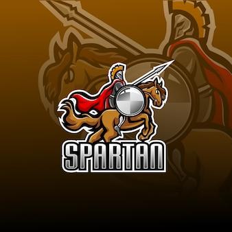 Logo de mascotte spartiate avec saut à cheval