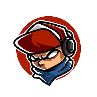 Logo de mascotte de sport de banderoles funky