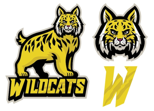 Logo de mascotte de sport de chats sauvages