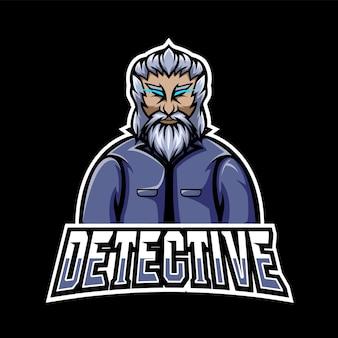 Logo de mascotte de sport de détective et de jeu esport