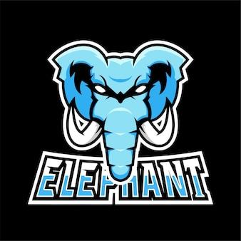 Logo de mascotte de sport d'éléphant et de jeu d'esport