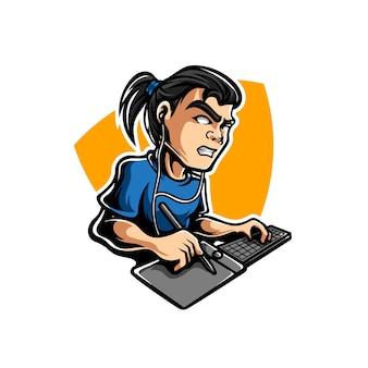 Logo de mascotte de sport illustrateur graphique