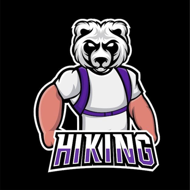 Logo de mascotte de sport de randonnée et de jeu esport