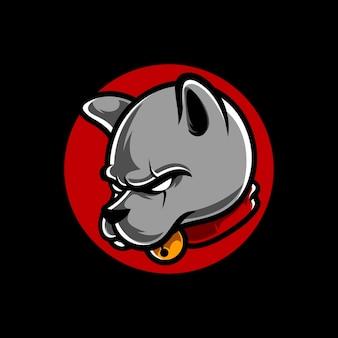 Logo de mascotte de sport de tête de chien e