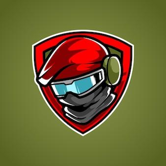 Logo de mascotte de sport de tête de soldat