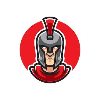 Logo de mascotte de sport tête de spartan