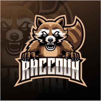 Logo mascotte sportive raton laveur