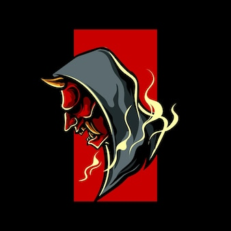 Logo de mascotte de style urbain oni mask