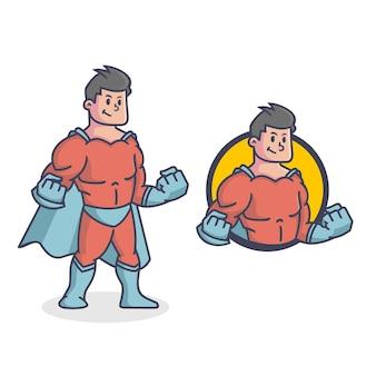 Logo de mascotte de super-héros rétro