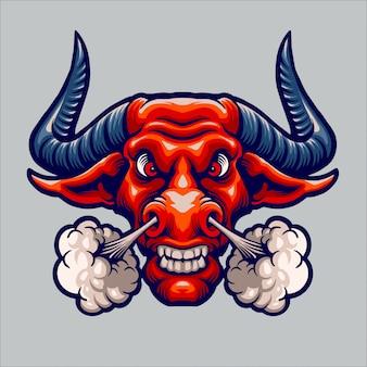 Logo de mascotte de taureau en colère