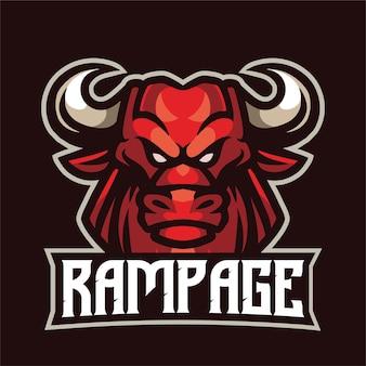 Logo de mascotte de taureau déchaîné