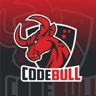 Logo mascotte taureau esport