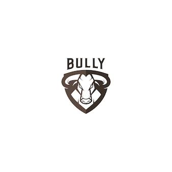 Logo mascotte taureaux avec bouclier