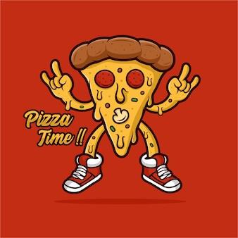 Logo de mascotte de temps de pizza