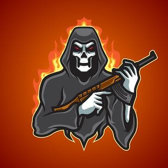 Logo de mascotte de terreur de crâne