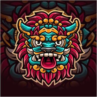 Logo de mascotte de tête de barong