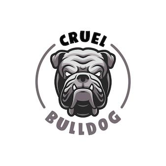 Logo de mascotte tête de bouledogue cruel