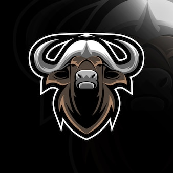 Logo de mascotte tête de buffle design e-sport