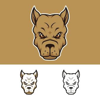 Logo mascotte tête de chien en colère