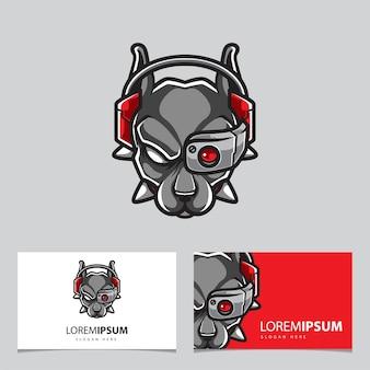 Logo de mascotte tête de chien cyborg