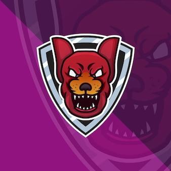 Logo de mascotte de tête de chien de l'enfer rouge pour les jeux d'esport et le vecteur gratuit premium de sport