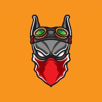 Logo de mascotte tête de chien steam punk