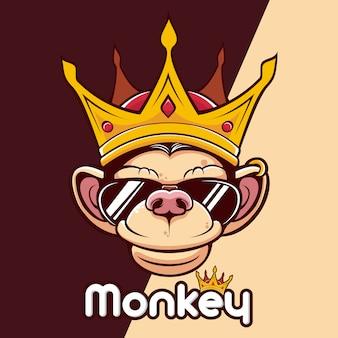 Logo mascotte tête de couronne de roi singe