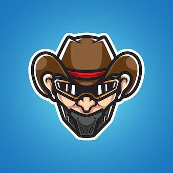 Logo de mascotte de tête de cowboy de cyborg