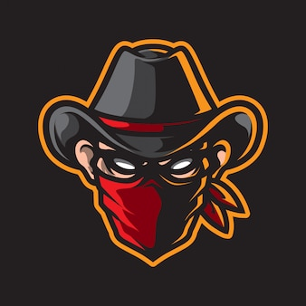 Logo mascotte tête de cowboy