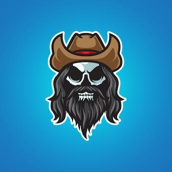 Logo de mascotte tête de crâne de cowboy