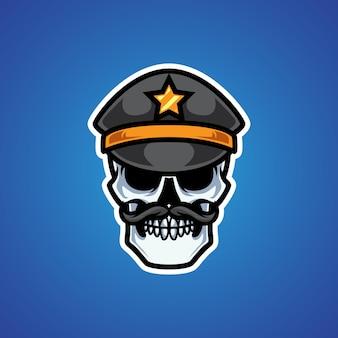 Logo mascotte tête de crâne de police