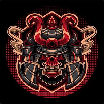 Logo de mascotte tête de crâne de samouraï