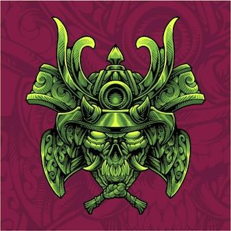 Logo de mascotte de tête de crâne de samouraï