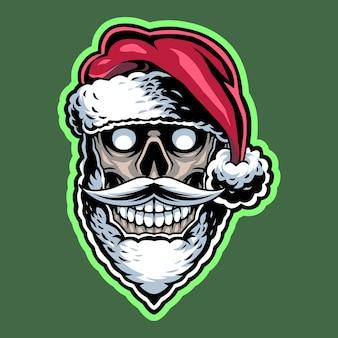 Logo de mascotte tête de crâne de santa