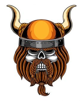 Logo mascotte tête de crâne viking