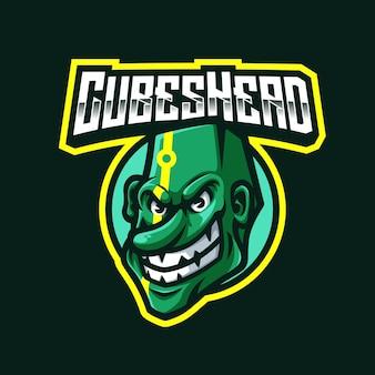 Logo de mascotte tête de cubes pour les jeux twitch streamer gaming esports youtube facebook