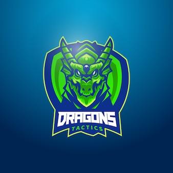 Logo de mascotte tête de dragon vert avec bouclier
