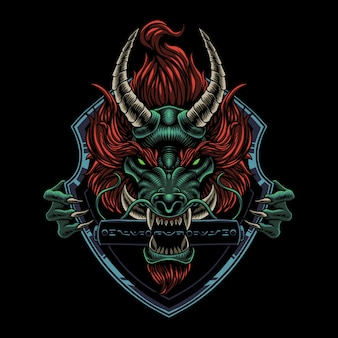 Logo de mascotte tête de dragon