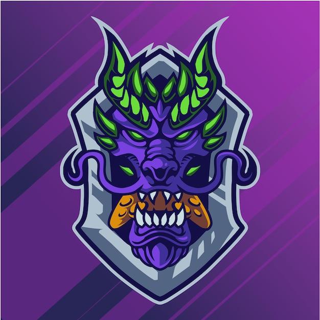 Logo mascotte tête de dragon