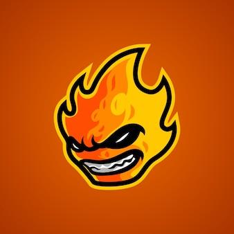 Logo de mascotte de tête de feu