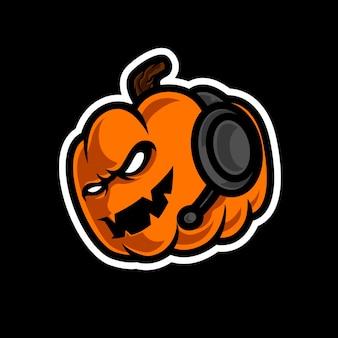 Logo mascotte tête de gamer citrouille