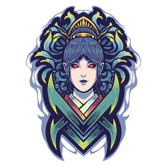 Logo de mascotte de tête de geisha